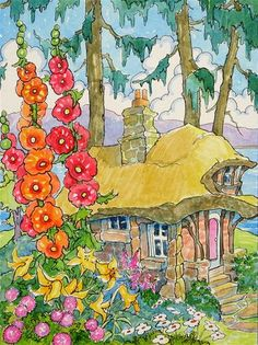 """Summer Cottage by the Lake Storybook Cottage Series"" - Original Fine Art for Sale - © Alida Akers"