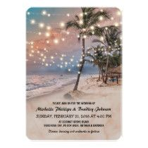 Beach Wedding Photos Tropical Vintage Beach Lights Wedding Card - Vintage beach destination wedding invitations featuring a romantic sunset tropical beach setting with lush palm trees and string twinkle lights. Tree Wedding Invitations, Destination Wedding Invitations, Vintage Wedding Invitations, Bridal Shower Invitations, Wedding Cards, Destination Weddings, Wedding Rsvp, Wedding Venues, Wedding Stationery