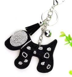 Kutya kristályos kulcstartó fekete