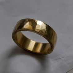 Handmade Wide Wedding Band for Men  10k Yellow Gold by redcatrun, $685.00