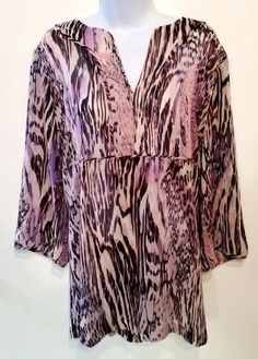 Susan Graver Style tunic shirt top size XL extra large purple black #SusanGraver #Tunic #Casual
