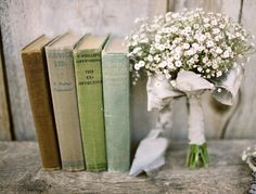 Country Chic wedding books with baby's breath bouquet