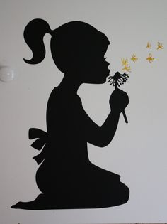 Silhouette girl blowing dandelion - vinyl wall design.