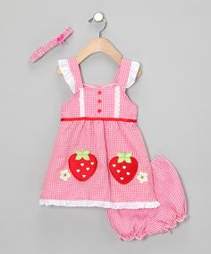 Take a look at this Fuchsia Strawberry Dress Set - Infant by Baby Basics Collection on #zulily today!