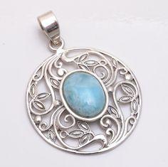 Handmade Natural Blue Larimar Gemstone 925 Sterling Silver Pendant Jewelry #Handmade #Pendant