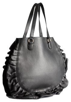RED Valentino Ruffled Tote Handbag New Black Leather Shoulder Bag 45% off  retail 46b7c27bc1e4e