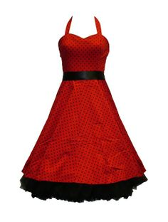Amazon.com: 50's Small Polka Dot Dress Red - M = 8 (US), 12 (UK): Clothing