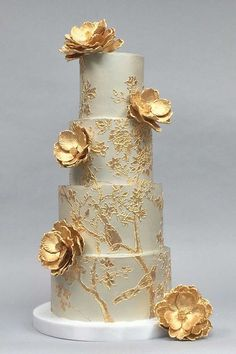elegant golden wedding cake #RePin by AT Social Media Marketing - Pinterest Marketing Specialists ATSocialMedia.co.uk