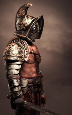 Gladiators were a large part of life in ancient Rome, and the different strengths and weaknesses of the equipment sets given to fighters could make a good battle mechanic. Gladiator Costumes, Gladiator Armor, Gladiator Tattoo, Roman Armor, Arm Armor, Ancient Armor, Medieval Armor, Roman Gladiators, Roman Warriors