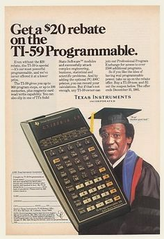 BILL COSBY for Texas Instruments programmable calculator Guerilla Marketing, Old Advertisements, Advertising, Old Calculator, Retro, 8 Bits, Information Age, Old Computers, Old Ads