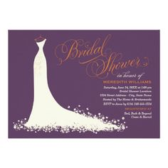 """Elegant bridal shower invitation for the stylish fall bride-to-be features an ornate calligraphy script font and flowing wedding gown.  Scroll flourish, flower and butterfly details accent the ethereal dress.  Soft white / ivory, plum / aubergine purple, and burnt orange autumn colors.  <br><br>Additional color scheme and design options are available at <a href=""""http://plushpaper.com/shop""""><b>The Plush Paper Design Shop</b></a>."""