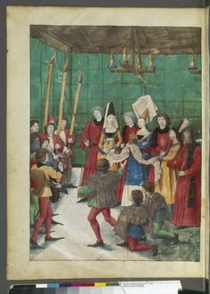 Presenting the prize to the champion (French: Tournoi : remise du prix au vainqueur), King René's Tournament Book, ca. 1488-1489, Français 2692, fol. 70v -- Three ladies wear v-neck gowns. My translation of the title could be wrong!