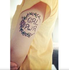 GRL PWR traditional colored tattoo.