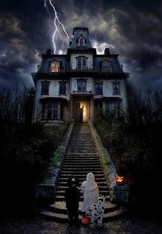 too scary to trick or treat at this house kids spooky house treat scared halloween haunted trick or treat trick cosume