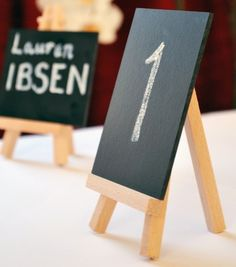 Wedding Table Numbers using Mini Chalkboard Sign