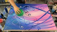 Abstract acrylic painting using balloons - - Art Painting Tools, Flow Painting, Canvas Painting Tutorials, Diy Canvas Art, Painting Flowers, Pour Painting, Acrylic Pouring Art, Acrylic Art, Acrylic Painting Canvas