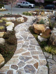 rustic flagstone walkway hardscapes pinterest flagstone