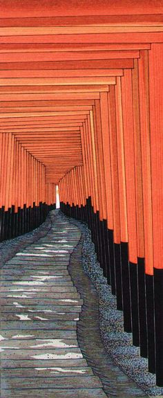Katō Teruhide, 1936-, A Thousand Torii at the Fushimi Inari Taisha, colored woodblock print