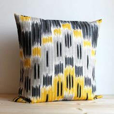 Yellow and Grey Ikat Pillow Cover  16 x 16 Ikat by CoupleHome, $14.50