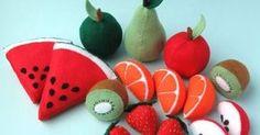 Frutas de feltro com moldes