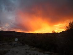 fiery sunset in Moab, UT while camping