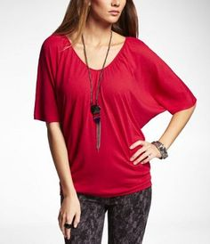 RUCHED V-NECK WEDGE TEE at Express. So damn comfy that I wish I'd grabbed more colors!!