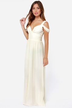 LULUS Exclusive Dreamed to Life Cream Maxi Dress at LuLus.com! {Inspiration by CharmCat.net}