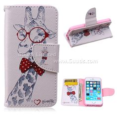 For iphone5 case Glasses Giraffe Leather Wallet Case for iPhone 5s / for iPhone 5 FREE SHIPPING