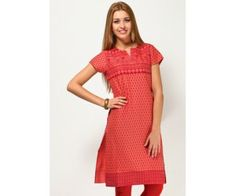 Short Sleeve Printed Red Kurti : http://lamora.in/kurtis/short-sleeve-printed-red-kurti.html?limit=100