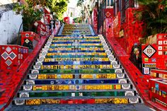 The stairway Selaron - 10 Fun Things to do in Rio de Janeiro that Only Locals Know Visit Rio, Rio Brazil, Brazil Travel, Covent Garden, Stairways, National Geographic, Strand, Samba, South America