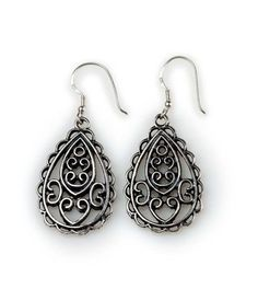 """Capri Earrings- 1.75"""" Delicate scroll work gives these antique silver earrings an artistic feel. A perfect pairing for the Venezia necklace and Napoli ring. $21 #capri #yourstylemialisia"""