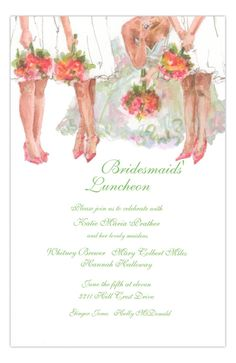 All the Ladies Bridesmaids Luncheon Invitation from Odd Balls at www.PolkaDotDesign.com