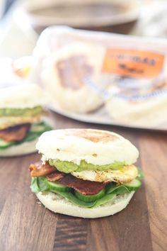 Bacon, Avocado and Egg English Muffin Sandwich: Bacon, scrambled eggs and mashed avocado on top of a toasted Thomas' English Muffin—this breakfast sandwich by Eclectic Recipes is one of the best.