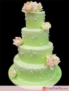 green peony and pearl cake