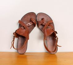 1980s Boho Toe Sandals - Brown Cutout Leather Double Buckled Sandal Flats Strappy Flat Summer Shoes Footwear Brazil