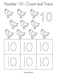 Number Count and Trace Coloring Page - Twisty Noodle Numbers Preschool, Free Preschool, Preschool Lessons, Kindergarten Worksheets, Preschool Cutting Practice, Pre K Curriculum, Number Tracing, Number Worksheets, 10 Count
