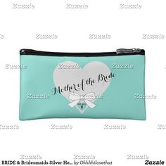 BRIDE & Bridesmaids Silver Heart Party MOB Makeup Bag Botanical Wedding Stationery, Polka Dot Bags, Heart Party, Flower Bag, Dog Bag, New Cosmetics, Small Cosmetic Bags, Black Nylons, Best Part Of Me
