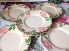 Vintage Franciscan Ware Desert Rose Dessert Plates Set of 6, Made in California USA, Vintage Rose Ceramic Dishes, Shabby Chic 1940's Plates by LakesideVintageShop on Etsy