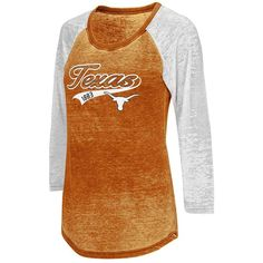 Juniors' Campus Heritage Texas Longhorns Ace Raglan Tee ($26) ❤ liked on Polyvore featuring tops, t-shirts, med orange, raglan shirts, screen print shirts, holiday t shirts, t shirts and graphic shirts