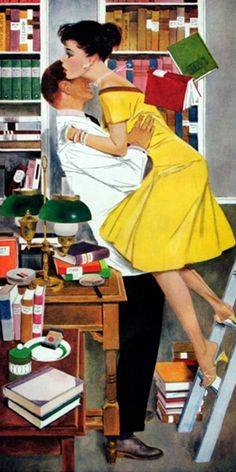 """Illustration Fritz Willis for the story """"Late in Love"""" by Norma Mansfield in the Saturday Evening Post in November 1958."""