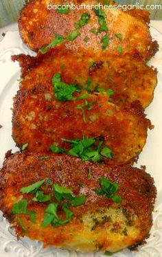 Parmesan Crusted Potatoes...my son has asked me to make these again every day since I made them!