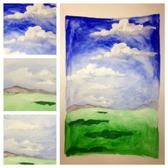 Art Club- Using blue, white, and green tempra paint, we discussed atmospheric perspective, color blending and layering paint. We do not use pencil. Clouds, mountains, and shadows are painted and not drawn.