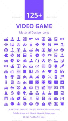 125+ Video Game Material Design Icon. Download here…