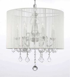"Crystal Chandelier With Large White Shade! H 19.5"" X W 18.5"" - F7-1126/6"