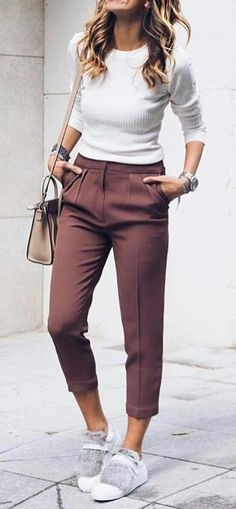 #summer #outfits White Top + Burgundy Pants + Grey Pumps