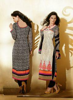 USD 118.56 Black and Brown Faux Georgette Salwar Suit 31984