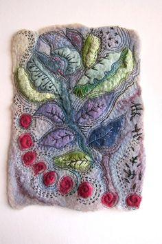 motleycraft-o-rama: By Jackie Cardy textiles on Etsy. Art Textile, Textile Artists, Wet Felting, Needle Felting, Fabric Journals, Handmade Felt, Felt Art, Fabric Art, Wool Felt
