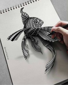 Fish - Intricate Doodles and Optical Illusions by Visoth Kakvei 3d Pencil Drawings, Doodle Art Drawing, Fish Drawings, Zentangle Drawings, Cool Art Drawings, Mandala Drawing, Art Drawings Sketches, Zentangles, Fish Zentangle