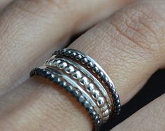 Grape VI. Stacking silver rings by LUNATICART. Easy.com.