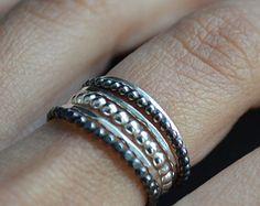 Grape VI. Stacking silver rings by LUNATICART. Easy.com.